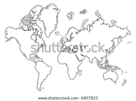 Detailed Bw Outline Map World Shadow Stock Illustration 6807823 ...