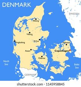 Detailed color Denmark map