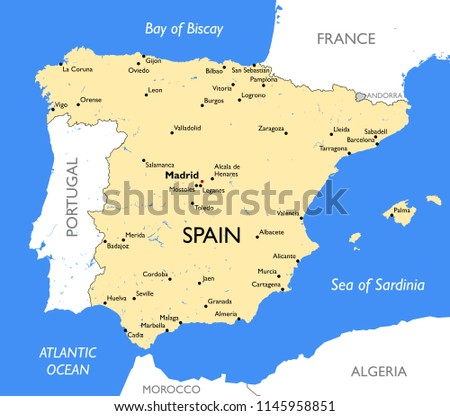 Map Of Spain To Color.Detailed Color Spain Map Stock Illustration 1145958851 Shutterstock