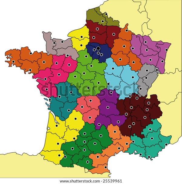 Map Of France Departments.Detailed Colored Map France All Departments Stock Illustration 25539961