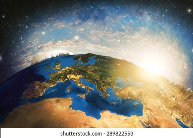 Detailed colorful Earth highly detailed planet earth in the morning Elements of this image furnished by NASA