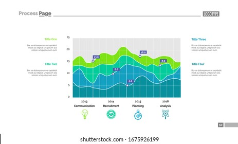 Detailed colorful graph slide template. Business data. Graph, diagram, design. Creative concept for infographic, report. Can be used for topics like analysis, planning, organization, statistics