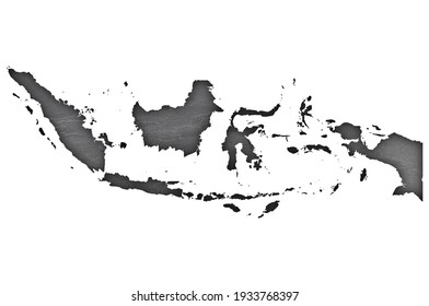 Detailed and colorful image of map of Indonesia on dark slate