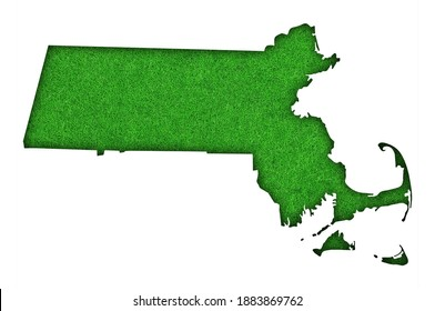Detailed and colorful image of map of Massachusetts on green felt