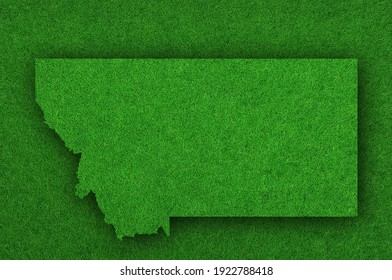 Detailed and colorful image of map of Montana on green felt