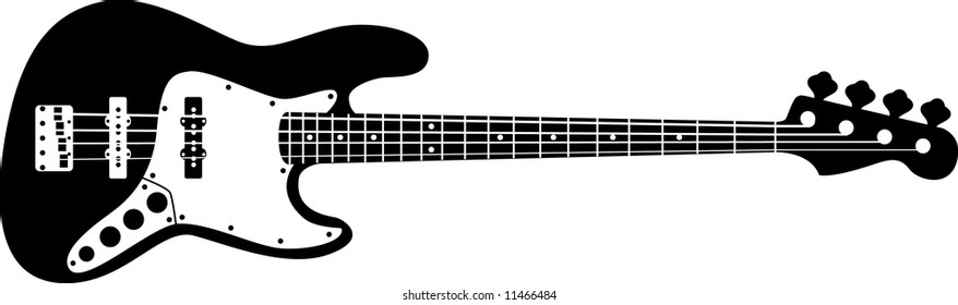 Detailed Drawing Electric Bass Guitar Stock Vector Royalty Free