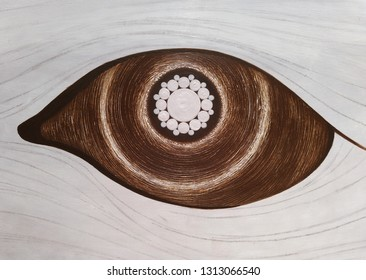 Detailed drawing of the open eye, irirs, apple of the eye. Shining eye with white iris.
