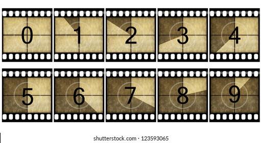 Detailed film countdown numbers
