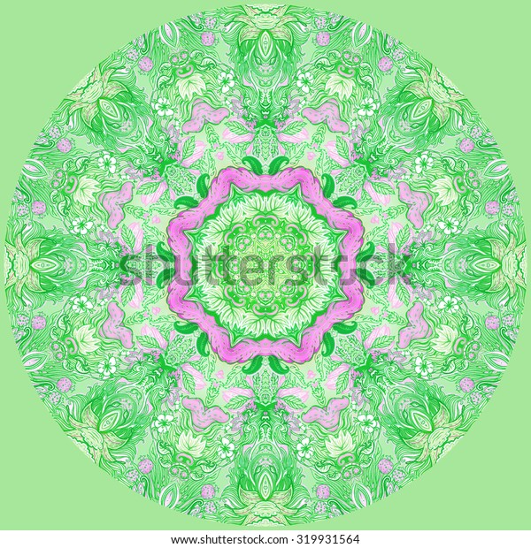 Detailed floral silk scarf design. Round shaped ornate pattern. Roses and other flower. Print for fabric, trendy t-shirt, rug or yoga pad.