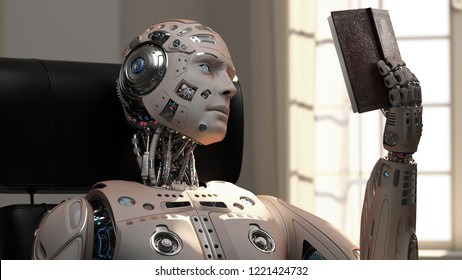 Detailed Futuristic robot or cyborg reading a book while sitting on a chair at home. 3D Render