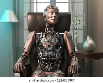 Detailed futuristic robot or cyborg sitting on a chair at home or inside his house. 3d illustration