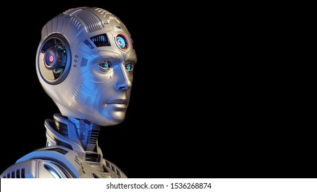 Detailed futuristic robot head or humanoid cyborg looking rightwards with copy space for text. Isolated on black background. 3d render
