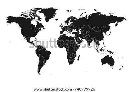 Detailed High Resolution Accurate World Map Stock Illustration ...
