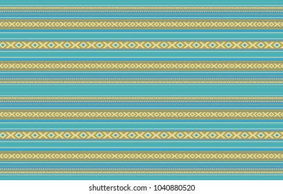 Detailed Horizontal Traditional Handcrafted Gold And Turquoise Sadu Rug