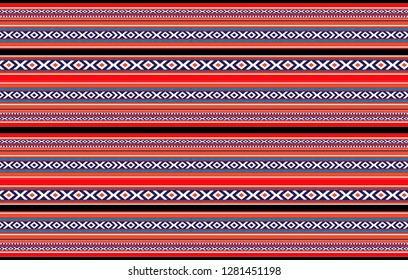 Detailed Horizontal Traditional Handcrafted Red Black White Sadu Rug