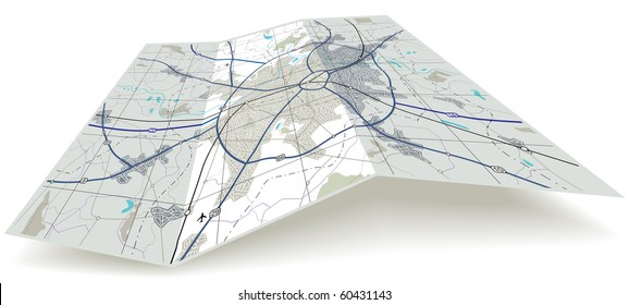 Detailed illustrated folding map with no names