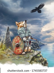 Detailed illustration of corgi the dog on the sea cliff. It wearing a traditional viking clothing and holding a battle axe. The background sky photo has taken from my archive.