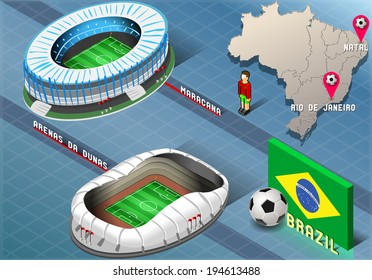 Detailed illustration of a Isometric Stadium of Natal and Rio De Janeiro, Brazil