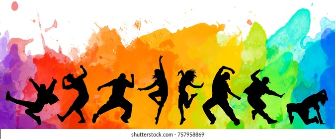 Detailed illustration silhouettes of expressive dance people dancing. Jazz funk, hip-hop, house dance lettering. Dancer.