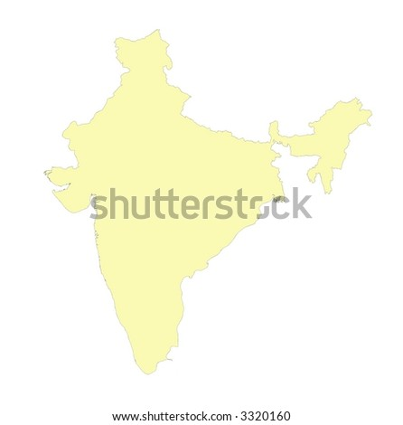 detailed isolated yellow map india on stock illustration 3320160