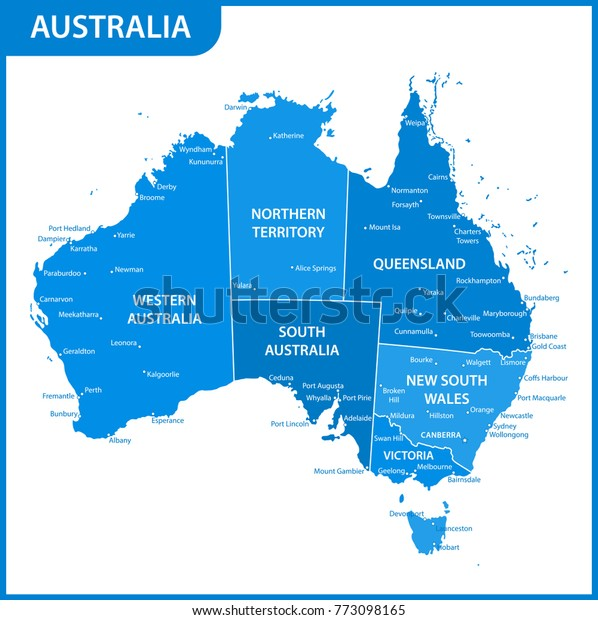 Detailed Map Australia Regions States Cities Stock ...