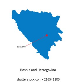 Detailed map of Bosnia and Herzegovina and capital city Sarajevo