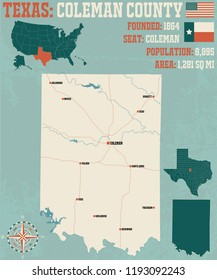 Detailed map of Coleman county in Texas, USA