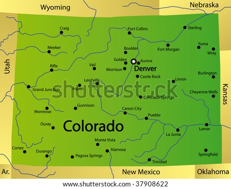 Detailed Map Colorado State Usa Stockillustration 37908622 ...