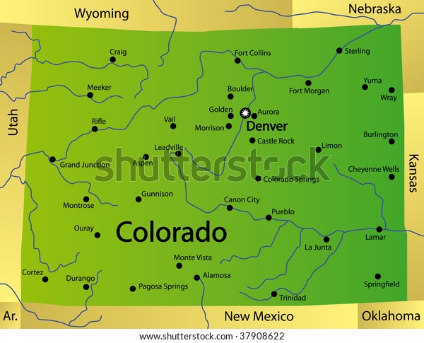 Detailed Map Colorado State Usa Stockillustration 37908622