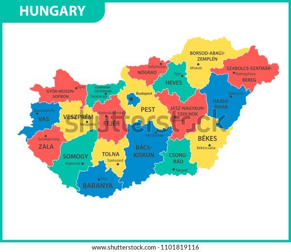 Detailed Map Hungary Regions States Cities Stock ... on debrecen hungary map, sopron hungary map, kecskemet hungary map, szeged hungary map, budapest hungary map, pecs hungary map, ajka hungary map, bekescsaba hungary map, bratislava hungary map, vac hungary map, gyor hungary map, erd hungary map, papa hungary map, gyula hungary map, kaposvar hungary map, nyiregyhaza hungary map, pest hungary map, hungary on world map, magyar hungary map,