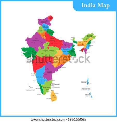 Detailed Map India Regions States Cities Stockillustration 696155065 ...