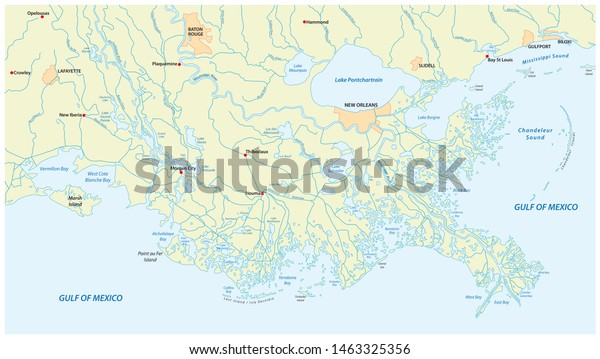 Detailed Map Mississippi River Delta Us | Royalty-Free Stock ...