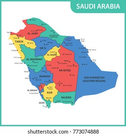 The detailed map of the Saudi Arabia with regions or states and cities, capitals