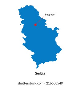 Detailed map of Serbia and capital city Belgrade
