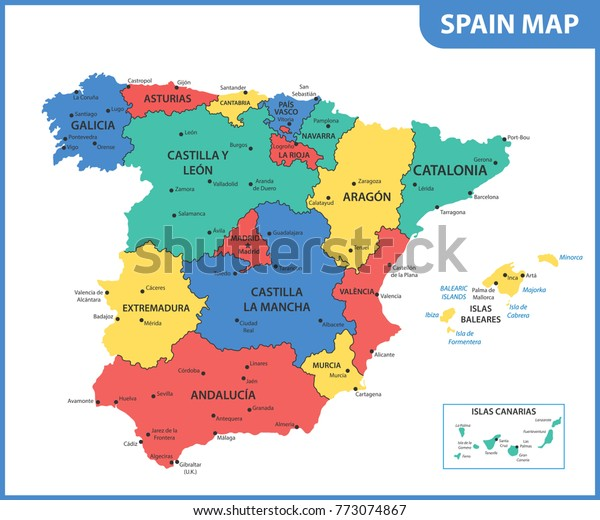 Detailed Map Spain Regions States Cities Stockillustration ...