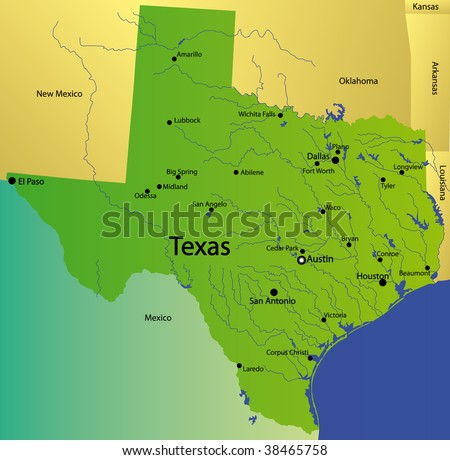Detailed Map Texas State Usa Stock Illustration - Royalty Free Stock ...