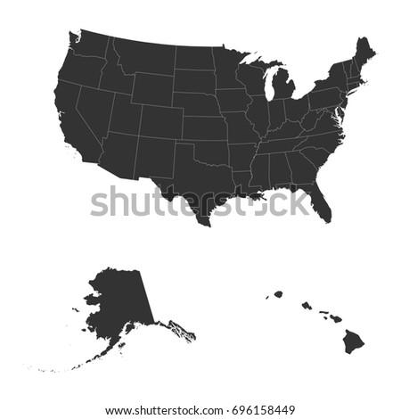 Detailed Map USA Including Alaska Hawaii Stockillustration 696158449 ...