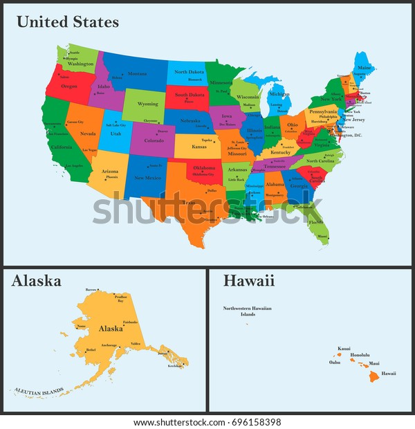 Detailed Map Usa Including Alaska Hawaii Stockillustration ...