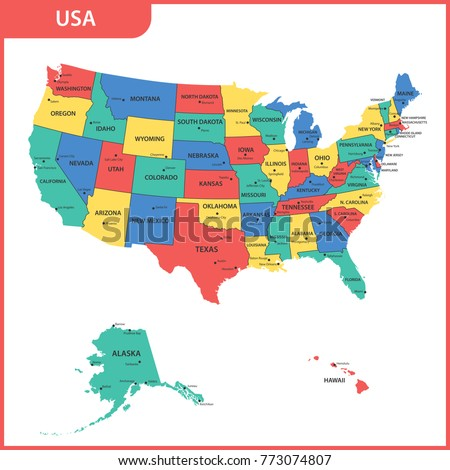 detailed map usa regions states citiesのイラスト素材 773074807