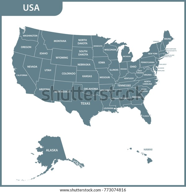Detailed Map Usa Regions United States Stock Illustration ...