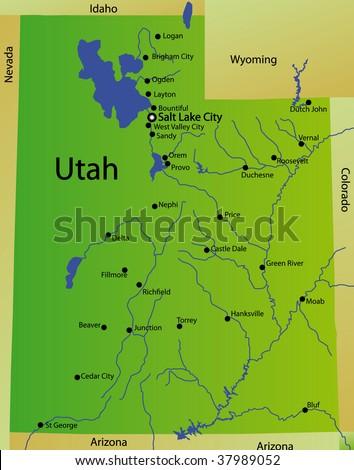 Detailed Map Utah State Usa Stockillustration 37989052 – Shutterstock
