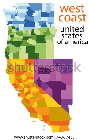 Detailed Map West Coast Usa Stock Illustration 74969437 - Shutterstock