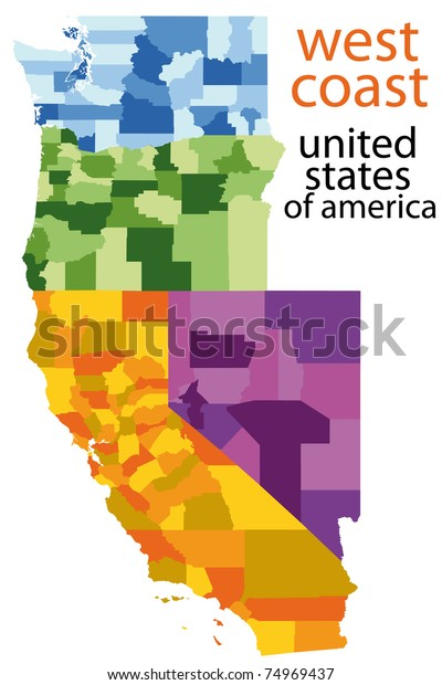 Detailed Map West Coast Usa Stockillustration 74969437