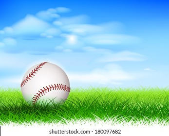 Detailed new baseball on lush grassy field.