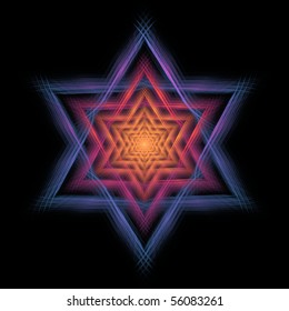 Detailed orange, pink, purple, and blue abstract Star of David design on black background