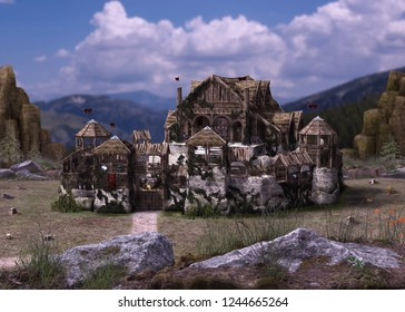 Detailed picture of an early northic medieval castle or fortress by the vikings, fantasy, 3d render