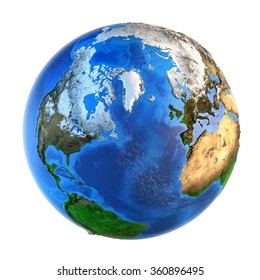 Detailed picture of the Earth and its landforms from a Northern perspective, isolated on white. Elements of this image furnished by NASA