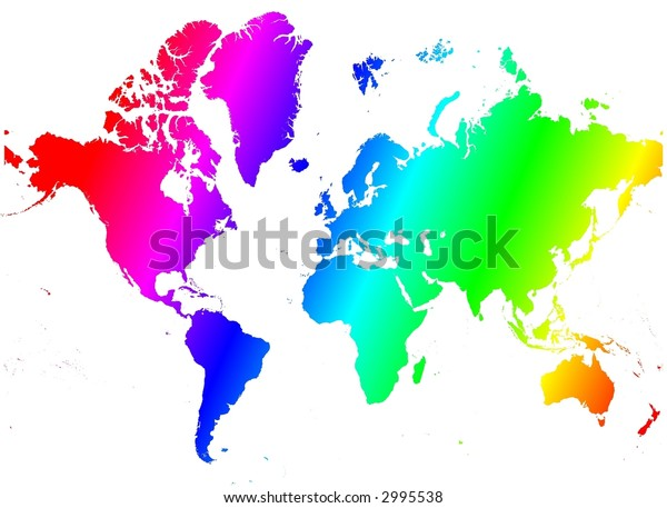 Detailed rainbow gradient map of the world.