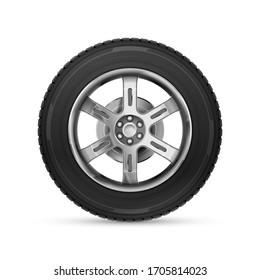 Detailed realistic car wheel on white