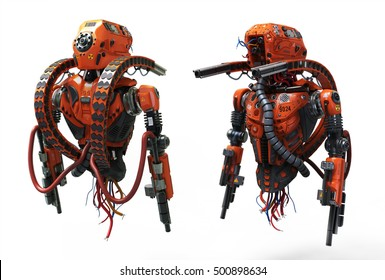 Detailed Realistic Robot Soldier. Futuristic Concept. 3D Illustration